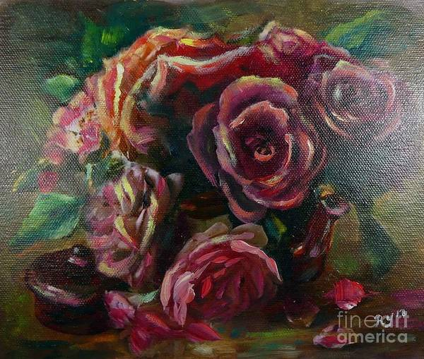 Painting - Light Striking Deep Red Roses by Ryn Shell