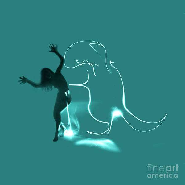 Photograph - Experimental Nude Light Drawing Dinosaur  by Clayton Bastiani