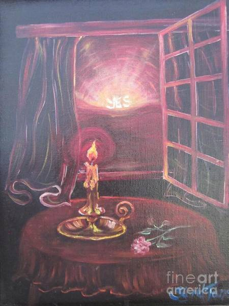 Painting - Flying Lamb Productions      Light The Yes Candle by Sigrid Tune