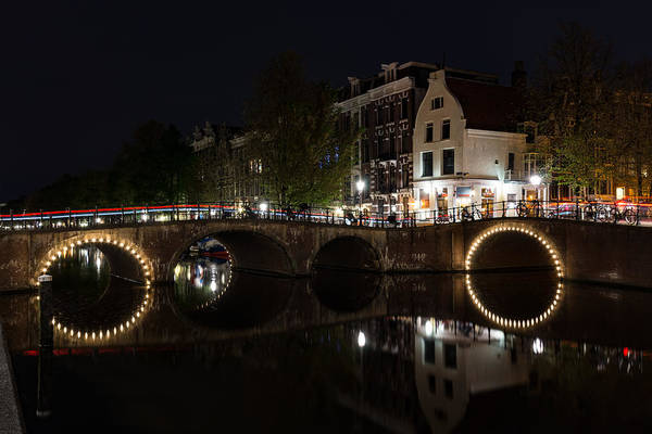Photograph - Light Trails And Circles - Reflecting On Magical Amsterdam Canals by Georgia Mizuleva