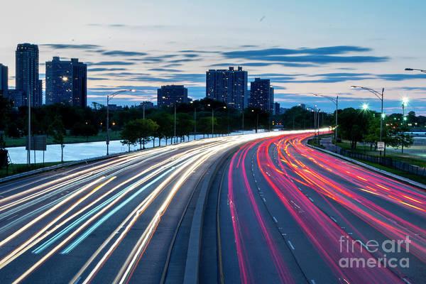 Photograph - Light Trails On Lake Shore Drive by Dawid Swierczek