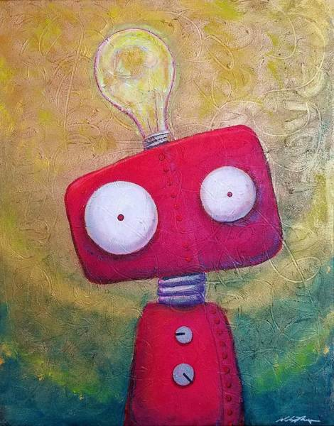 Wall Art - Painting - Lightbot by Nelson Perez