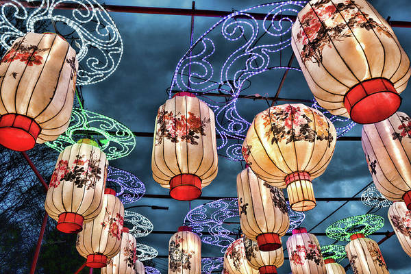 Photograph - Lighted Lanterns by Sharon Popek