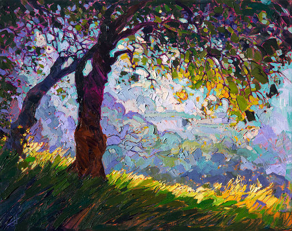 Wine Country Painting - Lighted Oak by Erin Hanson