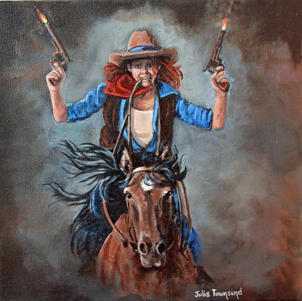 Horsemanship Painting - Light'em Up by Julie Townsend