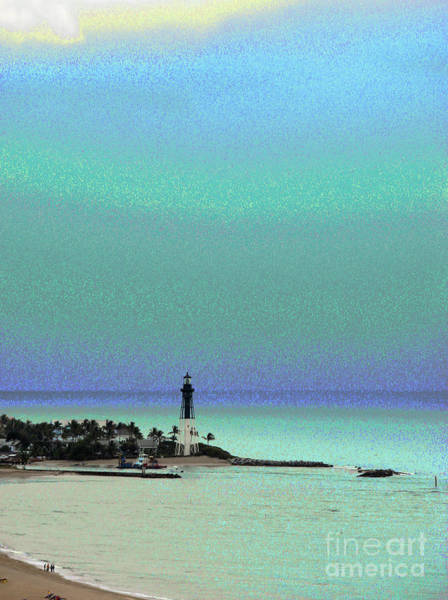 Photograph - Hillsboro Lighthouse In Florida In Luminous Green And Blue Setting by Corinne Carroll