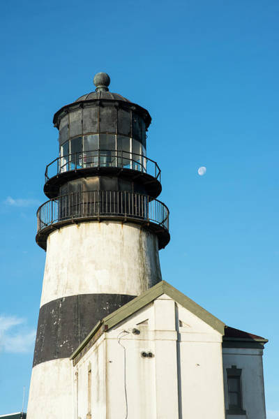 Photograph - Lighthouse And Moon At Cape Disappointment by Robert Potts
