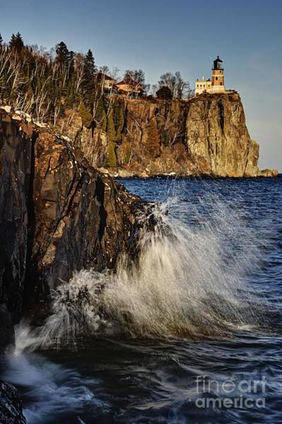 Photograph - Lighthouse And Spray by Larry Ricker