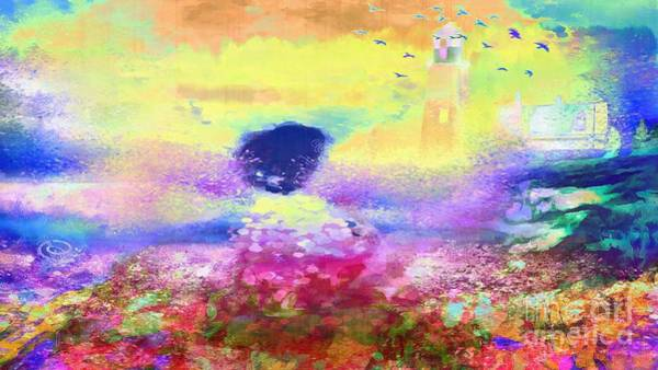 Painting - Lighthouse Angel Rainbow Splattered Hotty Totty Style by Catherine Lott