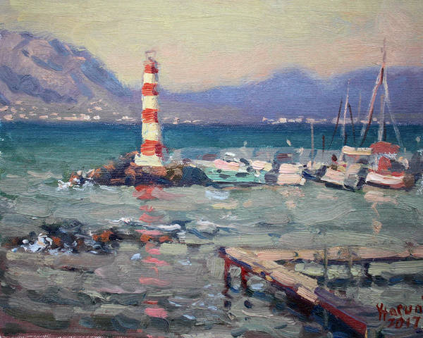 Harbor Wall Art - Painting - Lighthouse At Dilesi Harbor Greece by Ylli Haruni