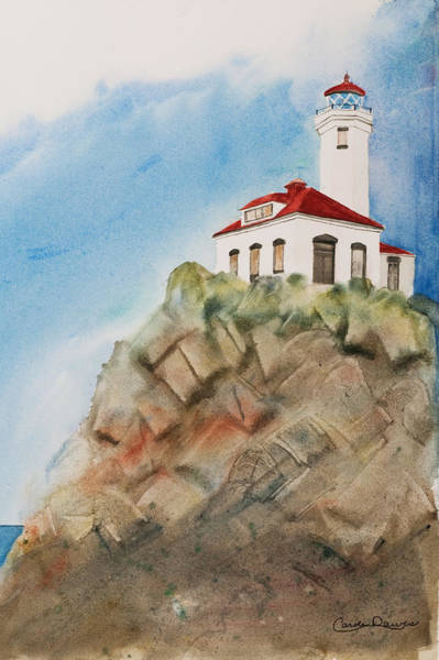Port Townsend Painting - Lighthouse At Point Wilson by Carole Dawes