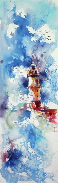 Wall Art - Painting - Lighthouse At Storm by Kovacs Anna Brigitta