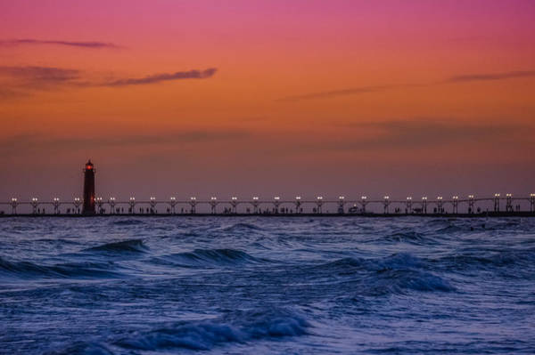 Great Lakes Region Wall Art - Photograph - Lighthouse At Sunset by Art Spectrum