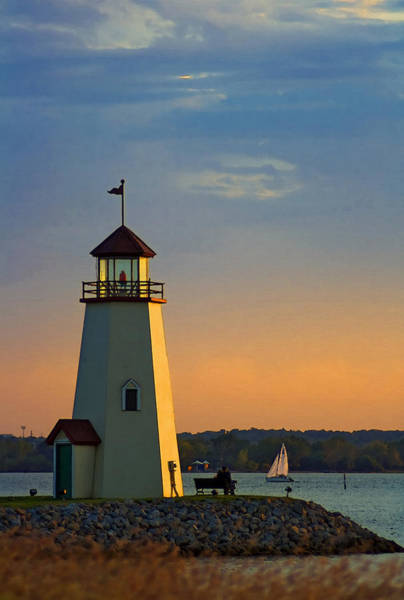 Lake Sunset Photograph - Lighthouse At Sunset by Ricky Barnard