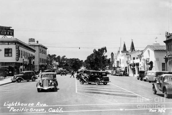 Photograph - Lighthouse Avenue Downtown Pacific Grove 1935  by California Views Archives Mr Pat Hathaway Archives