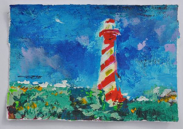 Painting - Lighthouse Burgh Haamstede Blue Impression by Eduard Meinema