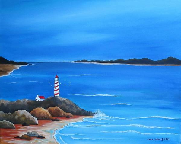 Wall Art - Painting - Lighthouse By The Bay by Carol Sabo
