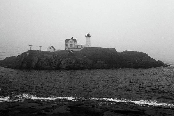 Photograph - Lighthouse - Cape Neddick, Maine Bw by Frank Romeo