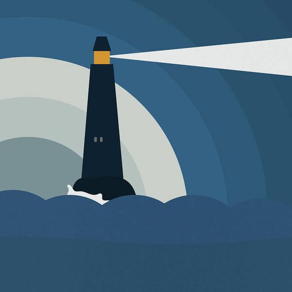 Light Blue Drawing - Lighthouse by Frank Tschakert