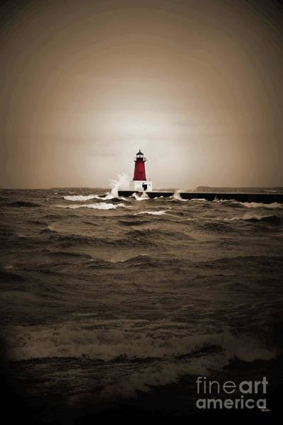 Photograph - Lighthouse Glow Sepia Spot Color by Ms Judi