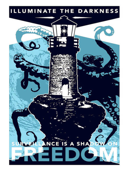 Illuminated Digital Art - Lighthouse, Illuminate The Darkness, Vintage Travel Poster by Long Shot