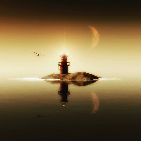 Painting - Lighthouse In A Calm Sea by Jan Keteleer