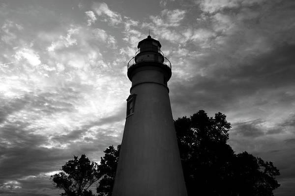 Photograph - Lighthouse In Black And White by Mike Murdock
