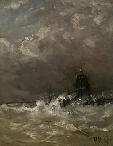 Wave Breaking Painting - Lighthouse In Breaking Waves by Movie Poster Prints