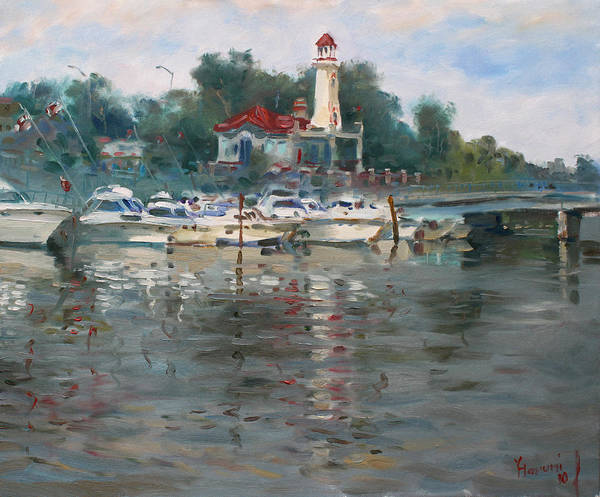 Wall Art - Painting - Lighthouse In Lake Shore Mississauga by Ylli Haruni