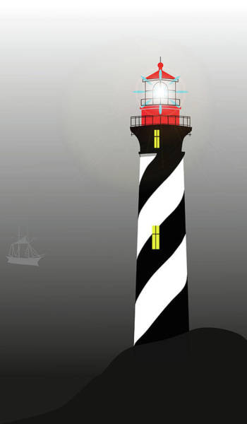 Digital Art - Lighthouse In The Fog by Marina Usmanskaya