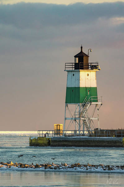 Lighthouse In The Sunset Art Print