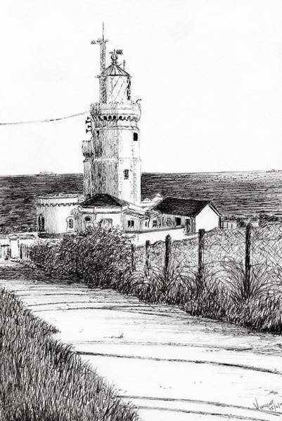 Structure Drawing - Lighthouse Isle Of Wight by Vincent Alexander Booth