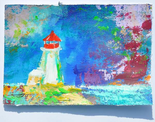 Painting - Lighthouse Peggy's Cove, Violet Blue by Eduard Meinema