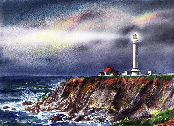 Wall Art - Painting - Lighthouse Point Arena At Night by Irina Sztukowski