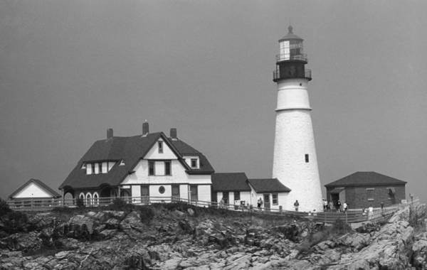 Photograph - Lighthouse - Portland Head, Maine 3 Bw by Frank Romeo