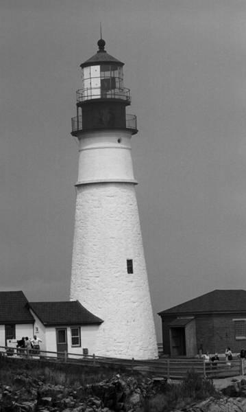 Photograph - Lighthouse - Portland Head, Maine Bw by Frank Romeo