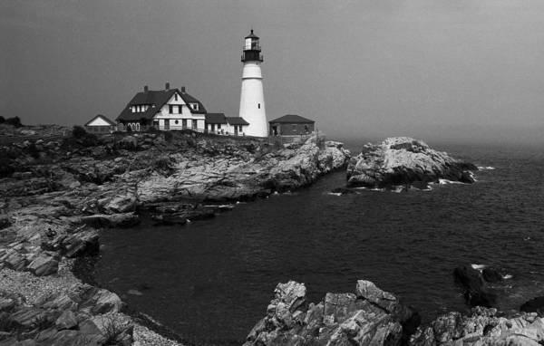 Photograph - Lighthouse - Portland Head, Maine 5 Bw by Frank Romeo