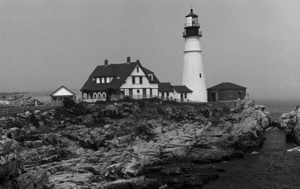 Photograph - Lighthouse - Portland Head, Maine 4 Bw by Frank Romeo