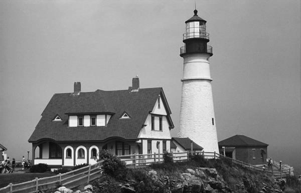 Photograph - Lighthouse - Portland Head, Maine 2 Bw by Frank Romeo
