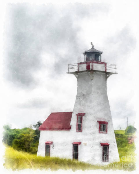 Wall Art - Painting - Lighthouse Prince Edward Island Watercolor by Edward Fielding