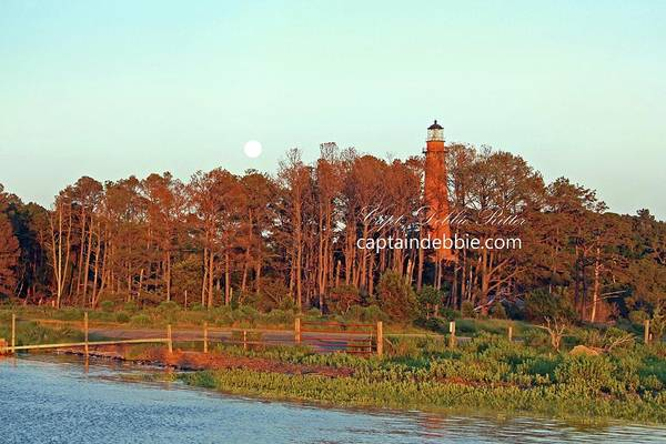 Photograph - Lighthouse Refurbish With Super Moon by Captain Debbie Ritter