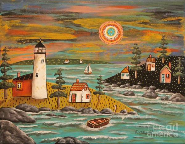 Wall Art - Painting - Lighthouse Sail by Karla Gerard
