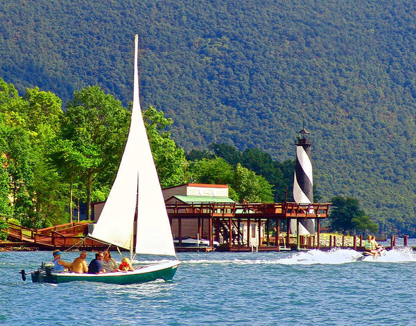 Photograph - Lighthouse Sailors Smith Mountain Lake by The American Shutterbug Society