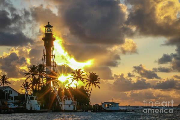 Photograph - Lighthouse Sunburst #2 by Tom Claud