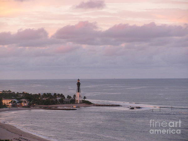 Photograph - Peach And Lavender Sky At Hillsboro Lighthouse In Florida by Corinne Carroll