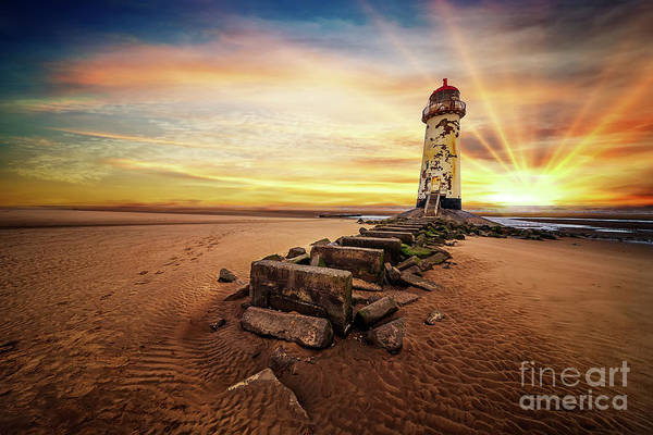 Wall Art - Photograph - Lighthouse Sunset Wales by Adrian Evans
