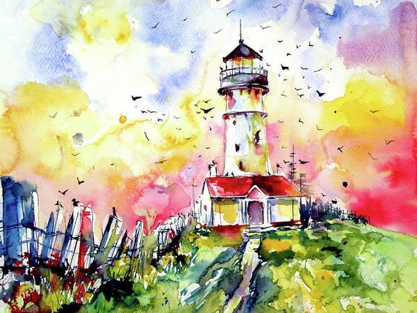 Wall Art - Painting - Lighthouse With Birds Cd by Kovacs Anna Brigitta