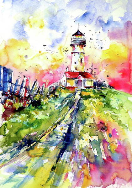Wall Art - Painting - Lighthouse With Birds by Kovacs Anna Brigitta