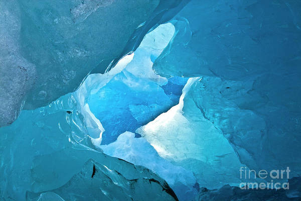 Photograph - Lighting In Nigardsbreen Glacier Grotto 2 by Heiko Koehrer-Wagner