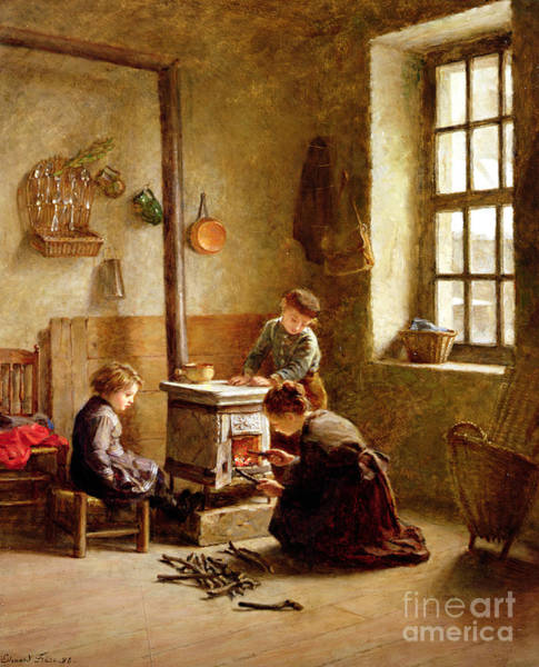 Lighting Wall Art - Painting - Lighting The Stove by Pierre Edouard Frere